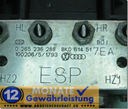 ABS Block 8K0614517EA 8K0-907-379-BE 0265236288 0-265-951-461 Audi A4 A5