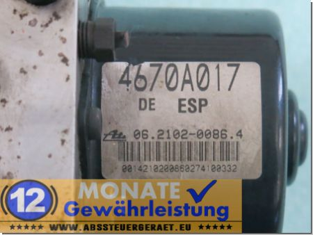 ABS Steuergerät 062109-02923 4670A017 Ate 06210200864 Mitsubishi Grandis
