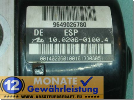 Modulo ABS 9649026780 100206-01004 Ate 100960-11233 Peugeot 206