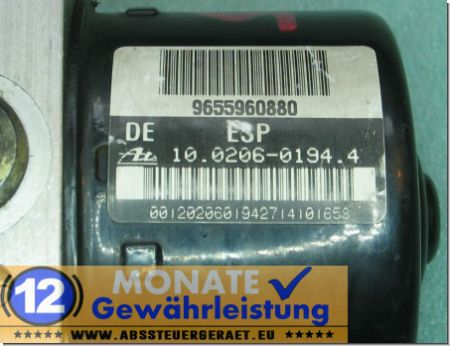 Modulo ABS 9655960880 100206-01944 Ate 100960-11513 Peugeot 206