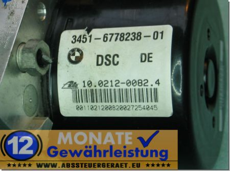 Bloc ABS 34516778238-01 34526778239-01 100212-00824 Ate 100961-08393 BMW