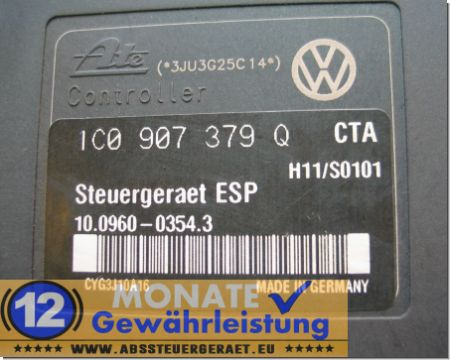 ABS Block 1J0614517M 1C0-907-379-Q 10020601394 Ate 10.0960-0354.3 VW Beetle