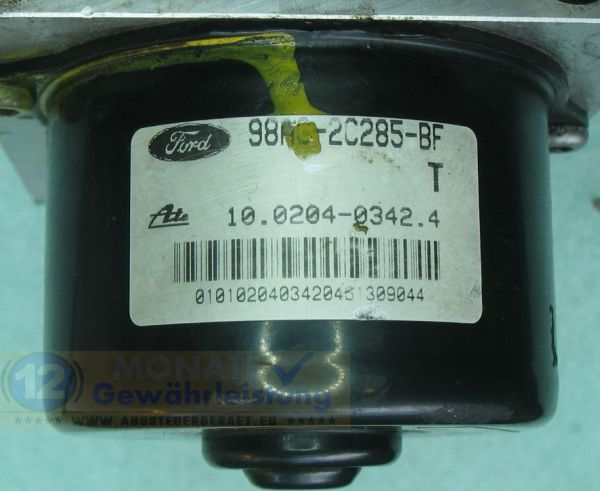 ABS Pump 98AG2C285BF 10.0204-0342.4 Ate 10094801063 Ford Focus