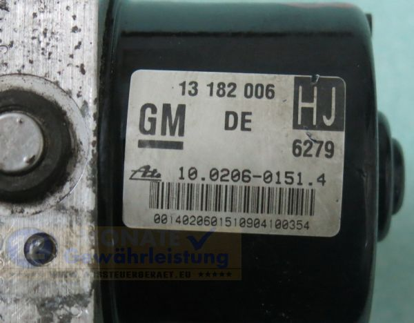 Unidad ABS 13182006 HJ 10.0206-0151.4 Ate 100960-05273 Opel Astra Zafira
