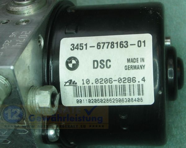 ABS Block 34516778163-01 10.0206-0286.4 34526778164-01 BMW E87 E90 E91