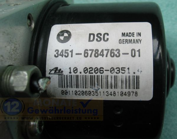 ABS Pump 34516784763-01 100206-03514 34526784764-01 Ate 10.0960-0839.3 BMW
