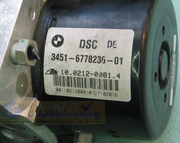 ABS Pump 3451677823601 3452-6778237-01 10021200814 Ate 10.0961-0838.3 BMW