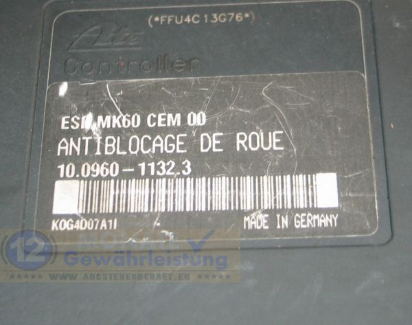 Bloc ABS Calculateur 9649027080 10020601044 Ate 10096011323 Peugeot 206